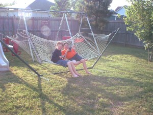 Gibson and Lucas on the hammock